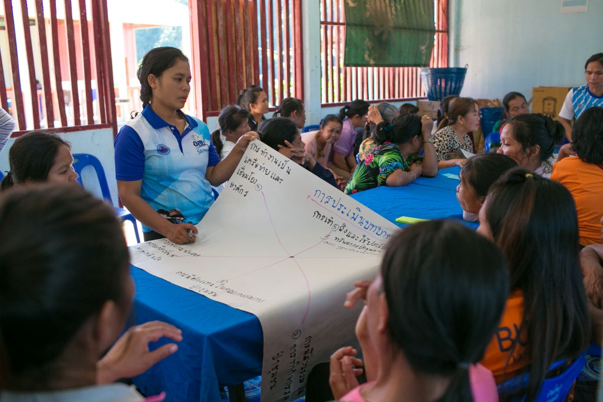 Yupian Upajak leads a small group discussion in a self-assessment during a focus group in Nam Mhaw Village.